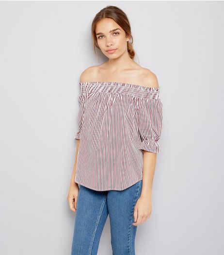 Red Stripe Shirred Bardot Neck Top  | New Look