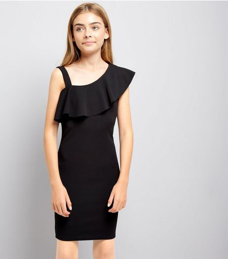 Teens Black Asymmetric Frill Bodycon Dress | New Look