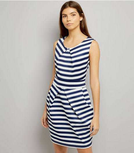Mela White Stripe Tulip Dress | New Look