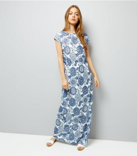 Mela Blue Lace Print Maxi Dress | New Look