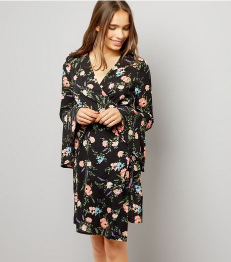 Black Floral Print Bell Sleeve Wrap Dress | New Look