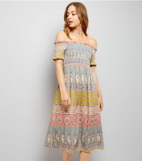 Multicoloured Stripe Shirred Bardot Midi Dress | New Look