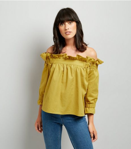Blue Vanilla Yellow Frill Trim Bardot Neck Top | New Look