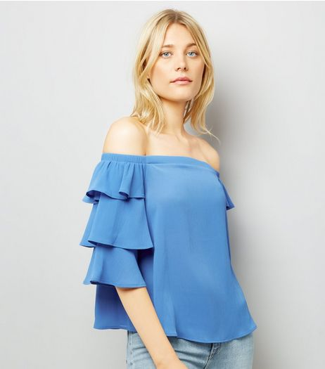 Blue Tiered Sleeve Bardot Neck Top | New Look