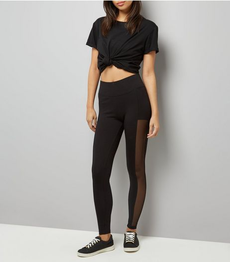 Black Mesh Panel Leggings  | New Look