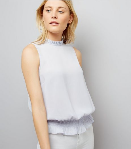 Pale Blue Shirred Waist Blouse | New Look