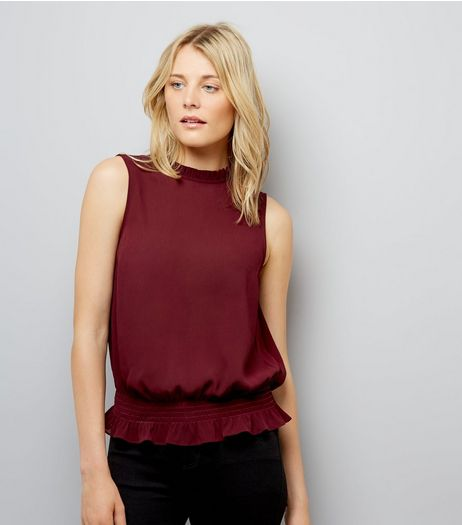 Burgundy Shirred Waist Blouse  | New Look