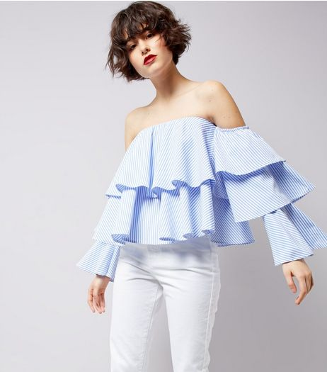 Blue Stripe Tiered Frill Bardot Top | New Look