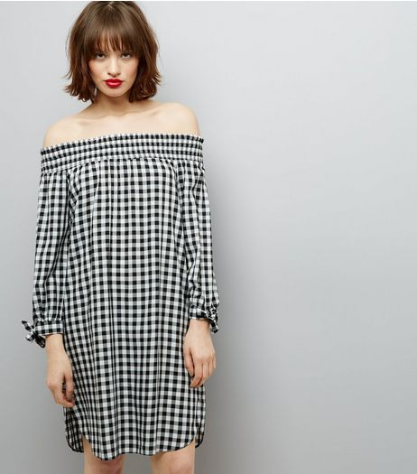 Black Gingham Check Shirred Bardot Neck Dress  | New Look