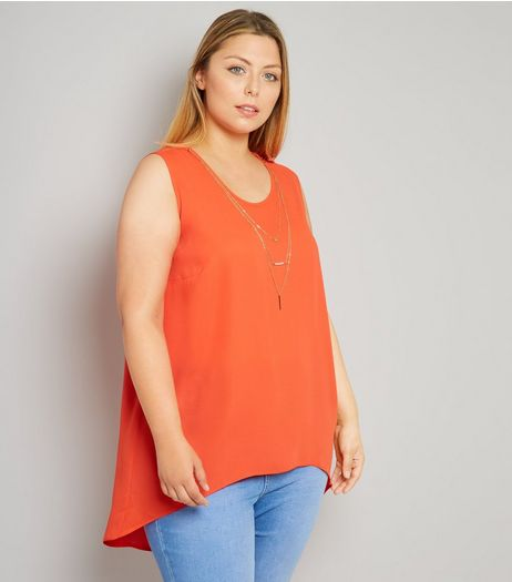 Curves Orange Necklace Detail Split Back Top | New Look