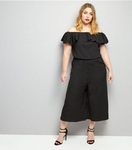 Curves Black Frill Trim Bardot Neck Jumpsuit | New Look