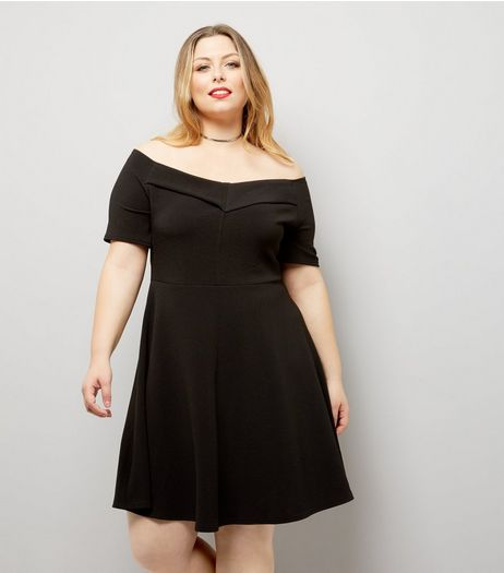 Curves Black Bardot Neck Crepe Skater Dress | New Look