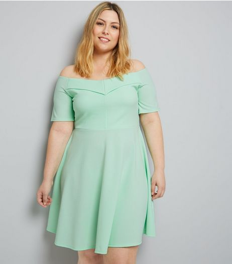 Curves Mint Green Bardot Neck Crepe Skater Dress | New Look