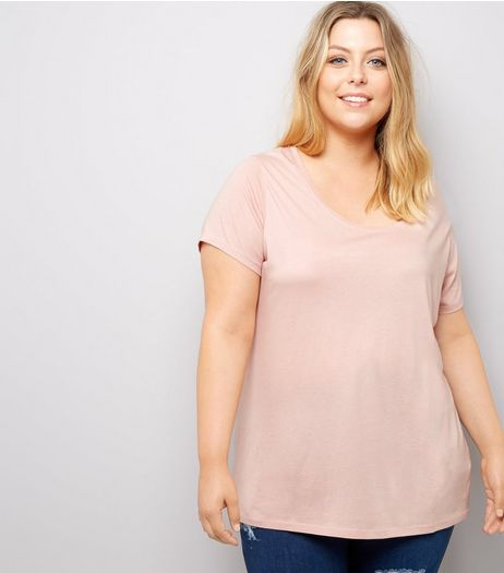 Curves Pink Scoop Neck T-Shirt | New Look