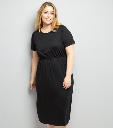 Curves Black Gathered Waist Jersey Dress | New Look