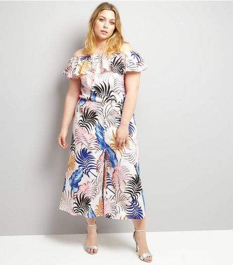 Curves White Tropical Print Frill Trim Culotte Jumpsuit | New Look