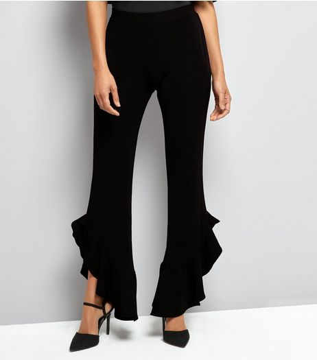 Cameo Rose Black Frill Hem Trousers  | New Look