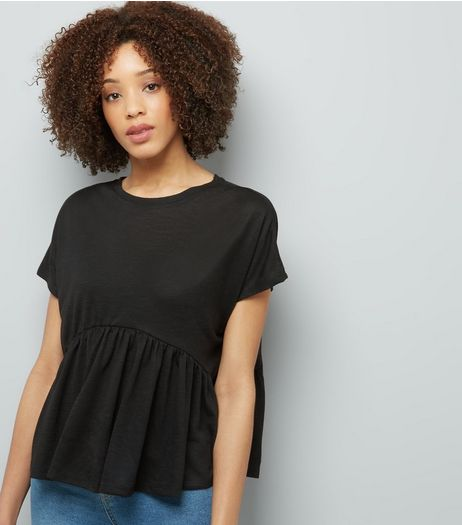 Black Peplum Hem T-Shirt | New Look