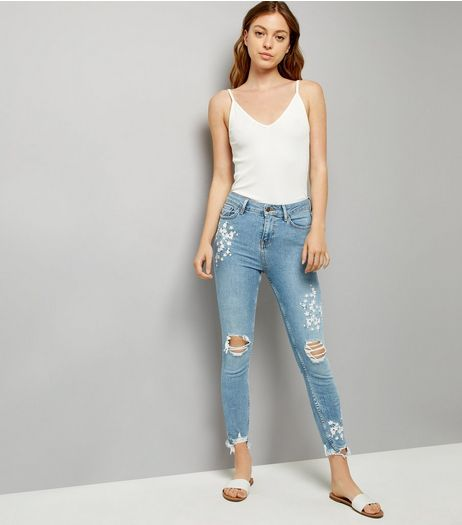 Blue Ripped Fray Hem Embroidered Skinny Jeans | New Look