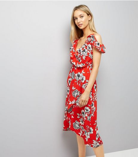 Tall Red Floral Print Cold Shoulder Midi Dress | New Look