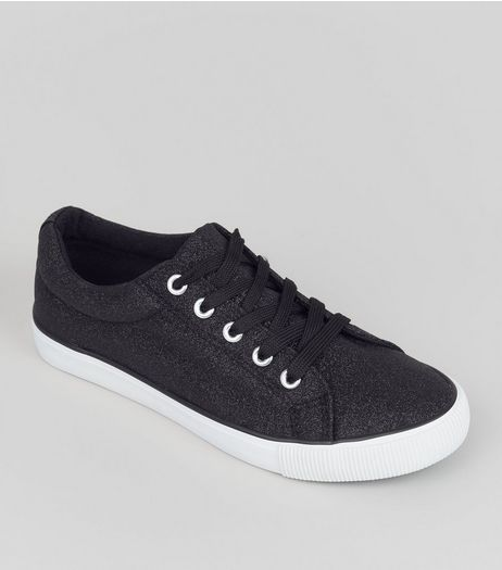 Teens Black Glitter Lace Up Trainers | New Look