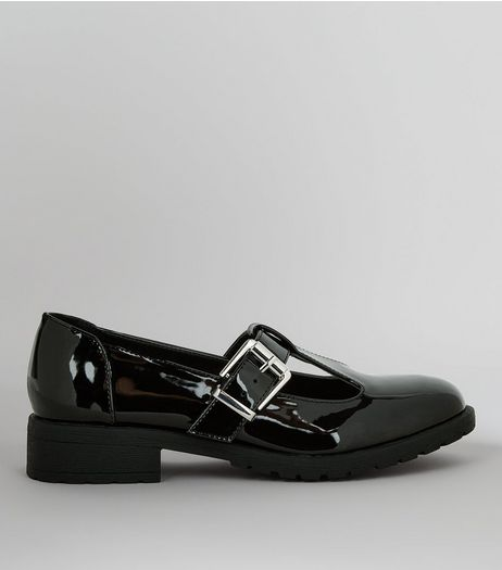 Teens Black Patent T-Bar School Shoes  | New Look