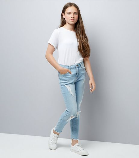 Teens Blue Extreme Ripped Jeans  | New Look