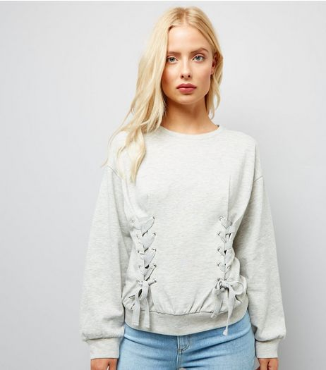 Grey Lace Up Front Jumper | New Look