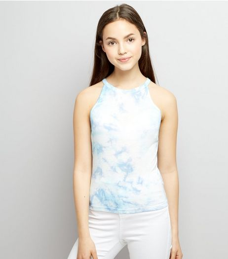 Teens Pale Blue Tie Dye Cami Top | New Look