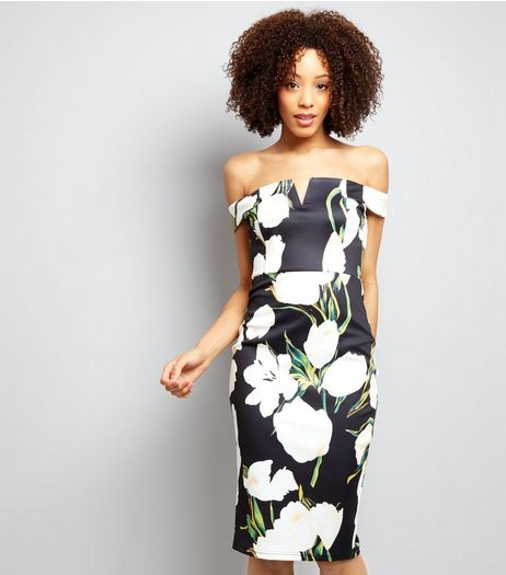 AX Paris Black Floral Print Bardot Neck Midi Dress  | New Look