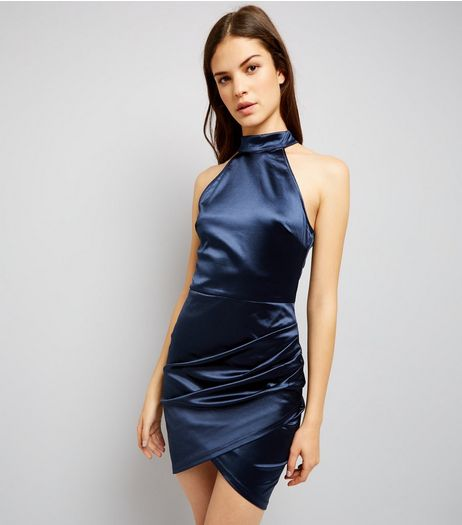 AX Paris Blue High Neck Wrap Front Dress  | New Look