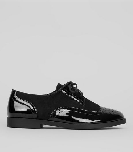 Teens Black Patent Panel School Brogues  | New Look