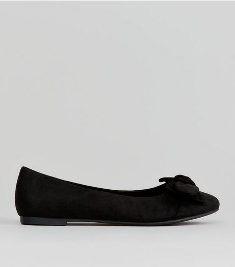 Teens Black Suedette Bow Front Pumps  | New Look