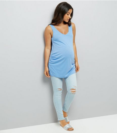 Maternity Blue Under Bump Ripped Knee Skinny Jeans | New Look