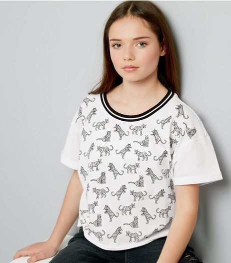 Teens White Stripe Neck Leopard Print T-Shirt  | New Look