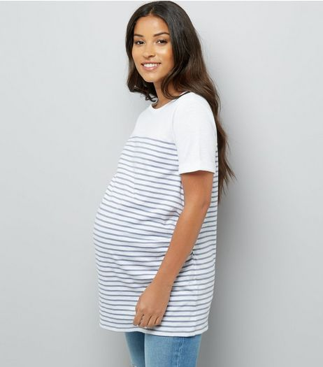 Maternity Blue Stripe Longline T-Shirt | New Look