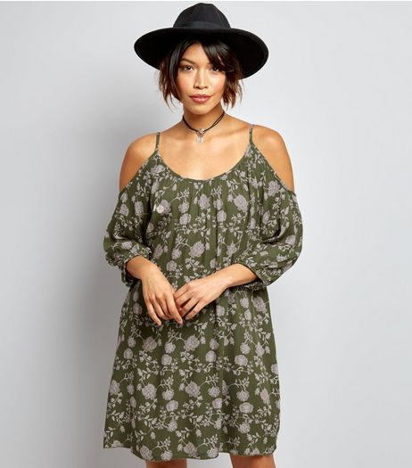 Apricot Olive Green Floral Print Cold Shoulder Dress | New Look