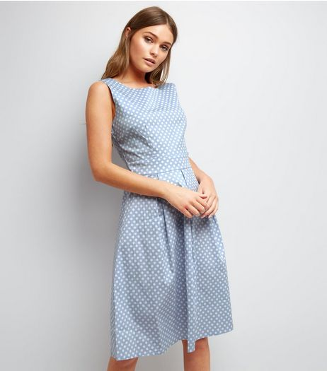 Apricot Pale Blue Polka Dot Sleeveless Midi Dress | New Look