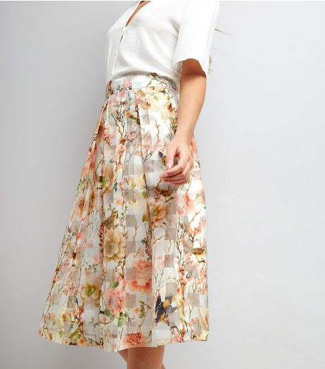 Apricot Cream Chiffon Check Floral Print Midi Skirt | New Look