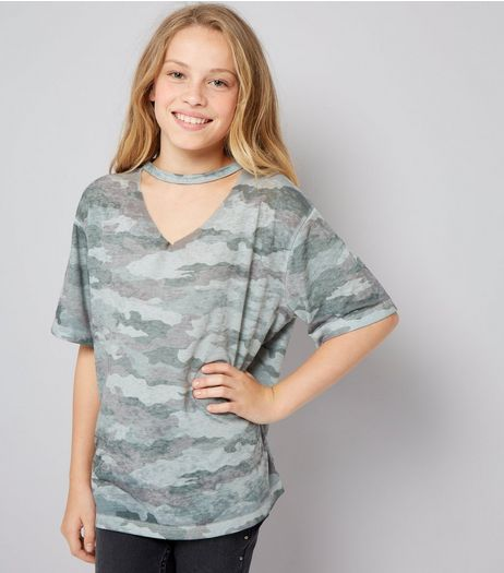 Teens Khaki Camo Print Boyfriend T-Shirt | New Look