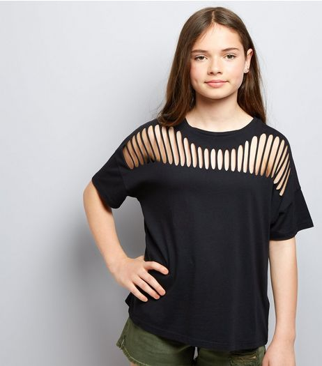 Teens Black Ladder Front T-Shirt | New Look