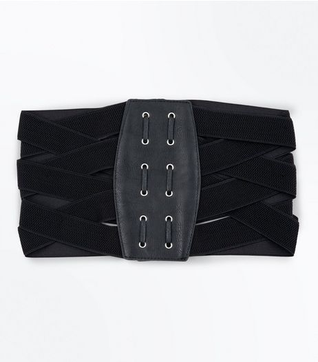 Black Elasticated Waist Corset Belt | New Look