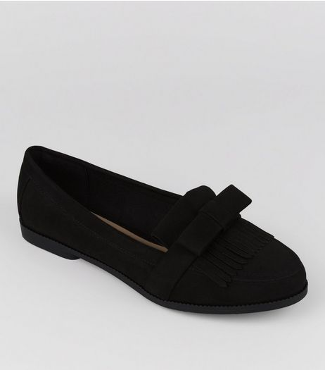 Black Suedette Fringe Front Loafer | New Look