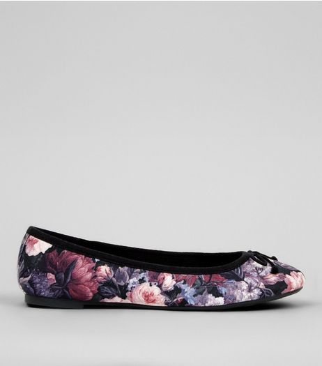 Purple Floral Print Ballerina | New Look