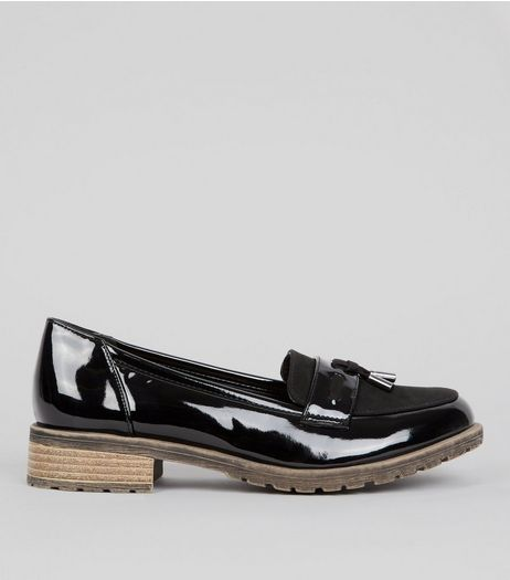 Teens Black Patent Contrast Sole Loafers  | New Look