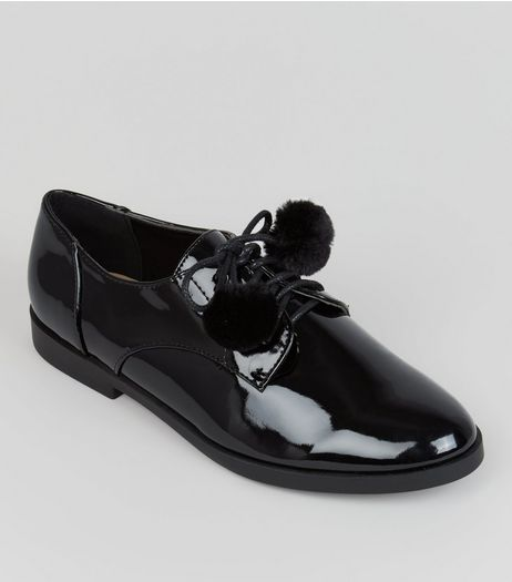 Teens Black Pom Pom Lace Up School Brogues | New Look