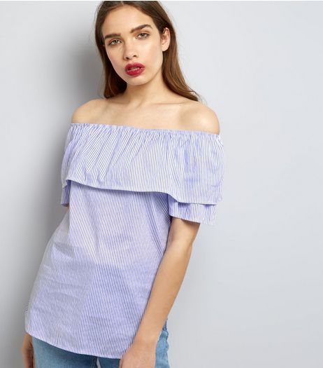 Cameo Rose Blue Stripe Frill Trim Bardot Neck Top | New Look