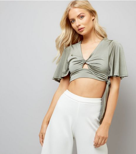Khaki Satin Twist Front Crop Top | New Look