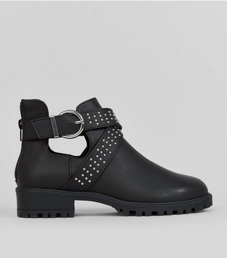 Teens Black Cut Out Boots  | New Look