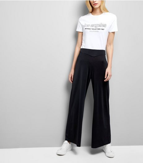 Black Stretch Wide Leg Trousers | New Look
